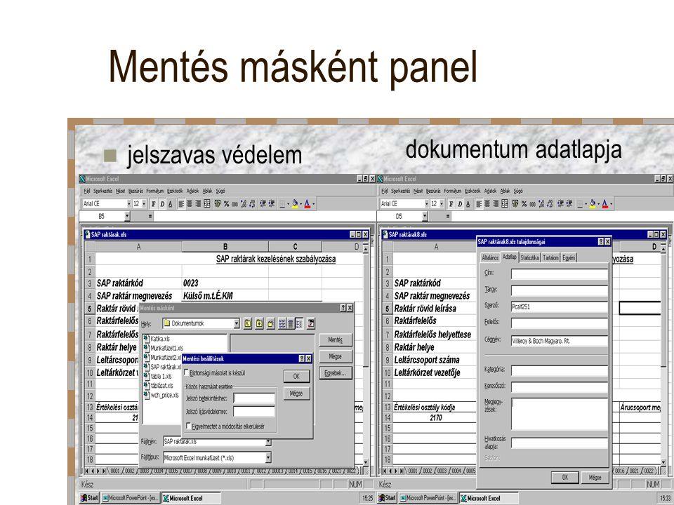 Mentés másként panel dokumentum adatlapja jelszavas védelem