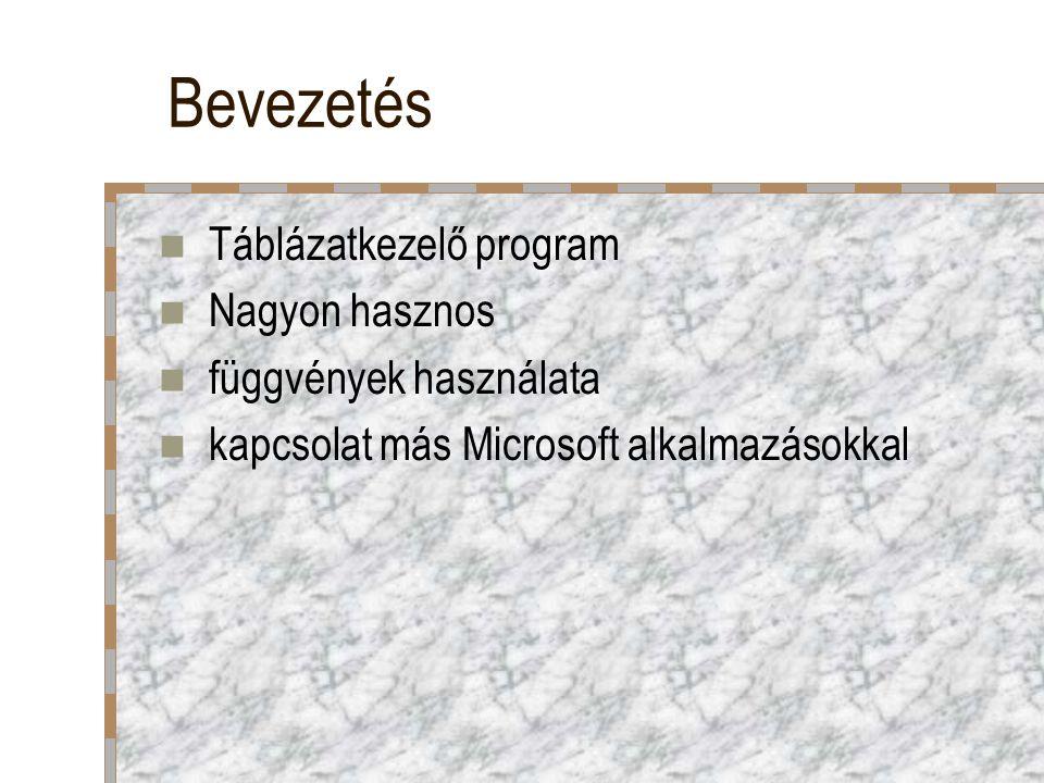 Bevezetés Táblázatkezelő program Nagyon hasznos függvények használata