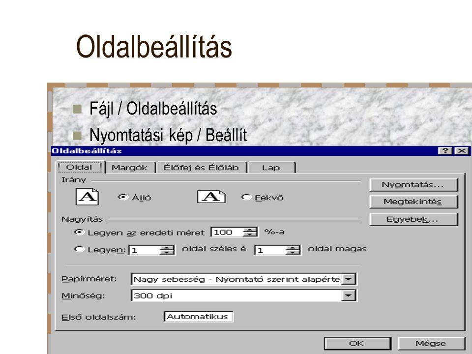 Oldalbeállítás Fájl / Oldalbeállítás Nyomtatási kép / Beállít