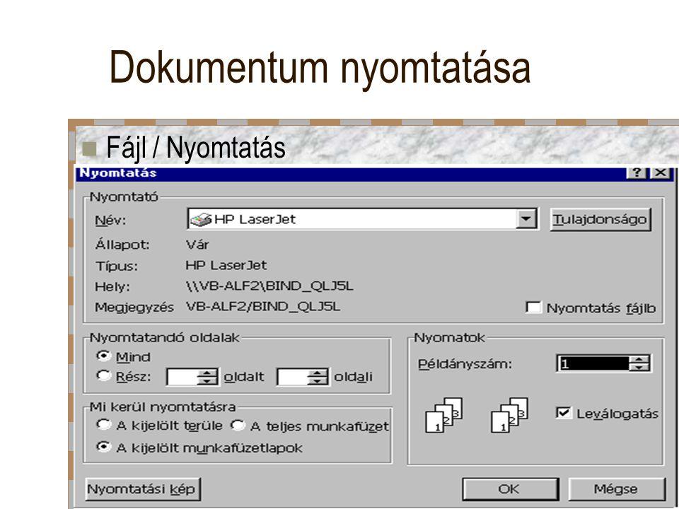 Dokumentum nyomtatása
