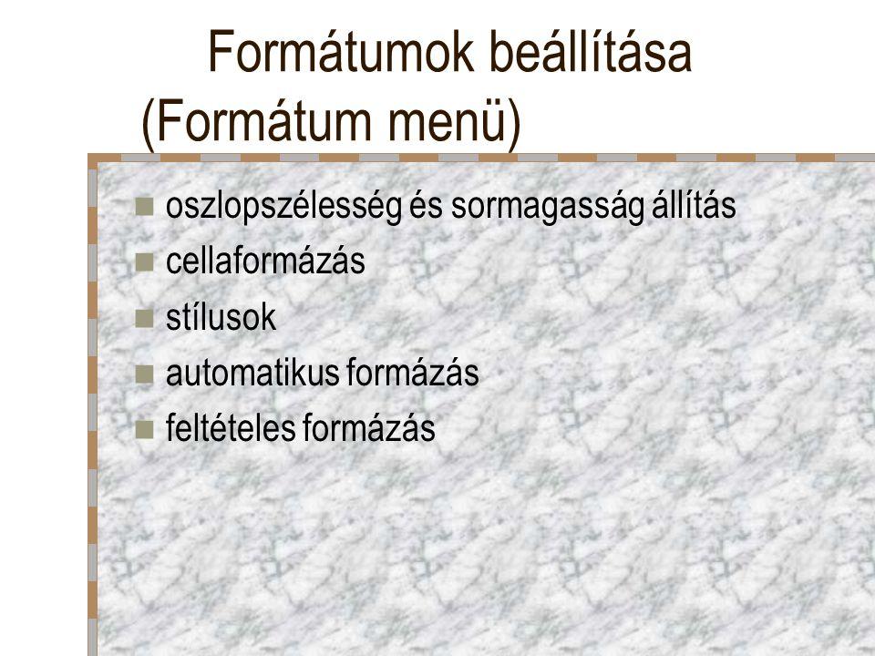 Formátumok beállítása (Formátum menü)