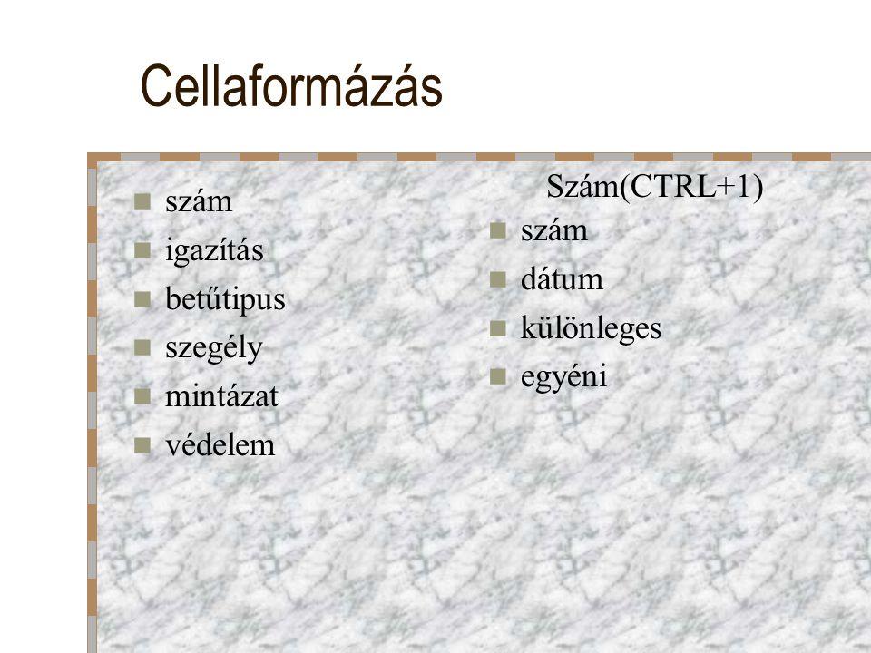 Cellaformázás Szám(CTRL+1) szám igazítás szám betűtipus dátum szegély