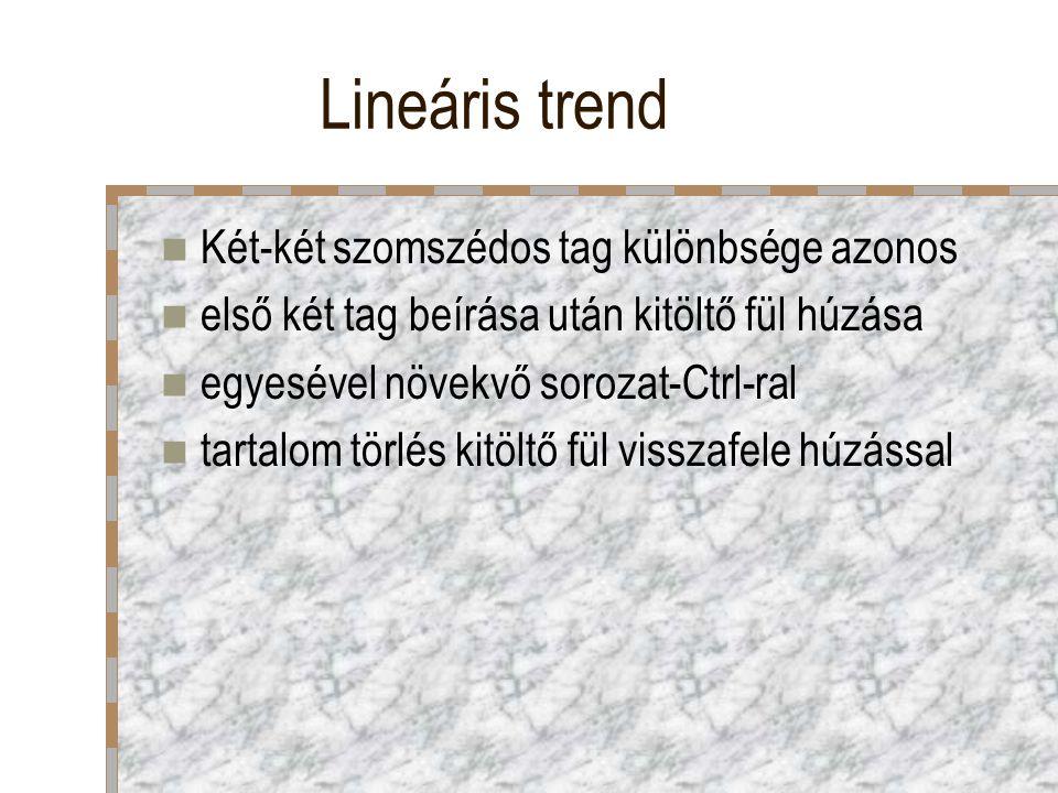 Lineáris trend Két-két szomszédos tag különbsége azonos