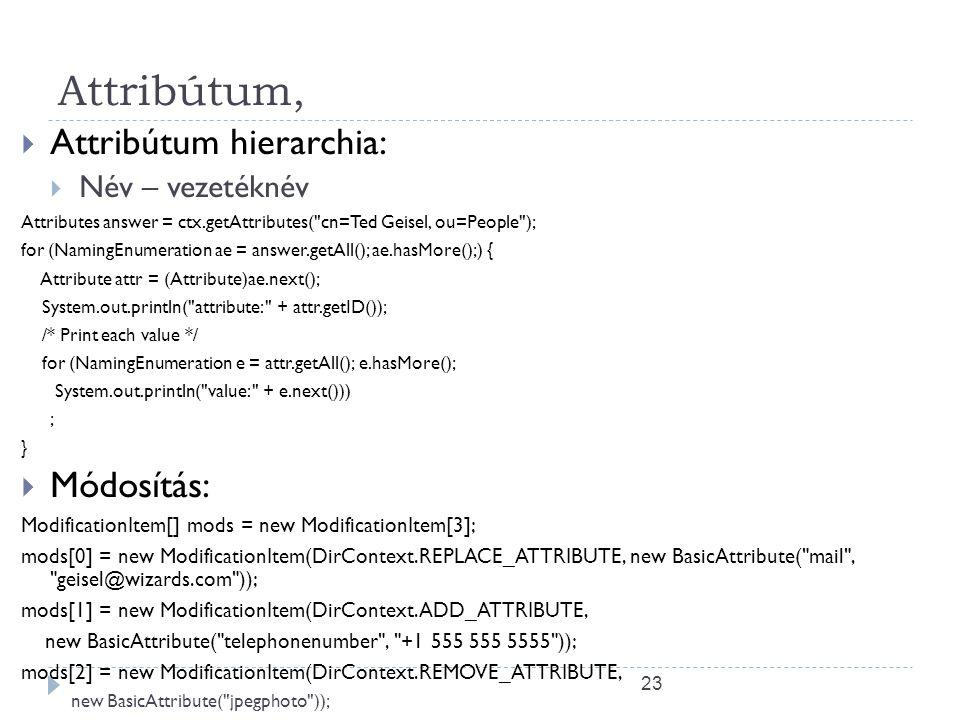 Attribútum, Attribútum hierarchia: Módosítás: Név – vezetéknév