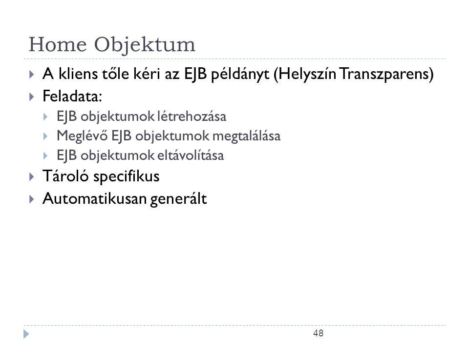 Home Objektum A kliens tőle kéri az EJB példányt (Helyszín Transzparens) Feladata: EJB objektumok létrehozása.
