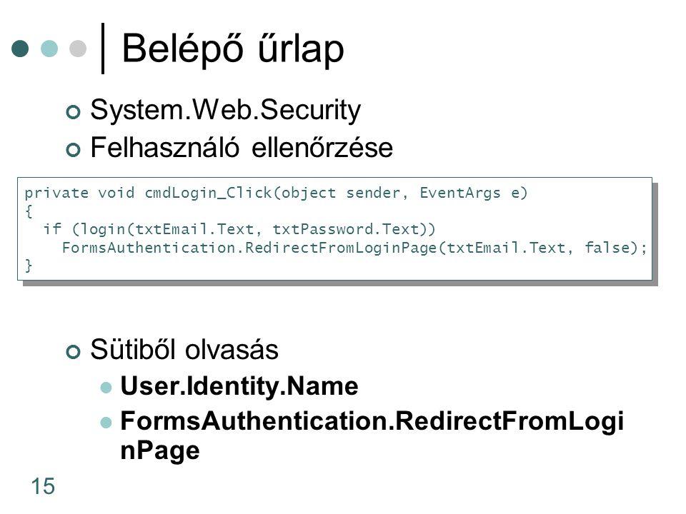 Belépő űrlap System.Web.Security Felhasználó ellenőrzése