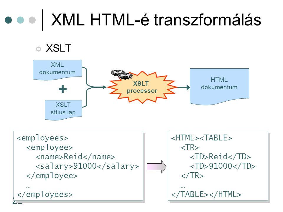 XML HTML-é transzformálás