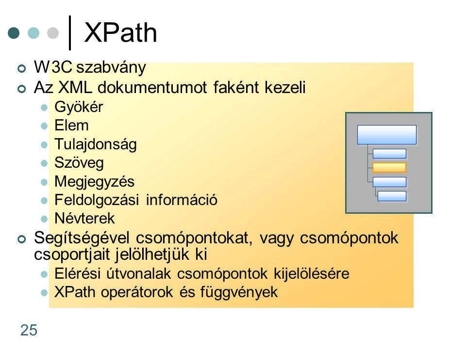 XPath W3C szabvány Az XML dokumentumot faként kezeli