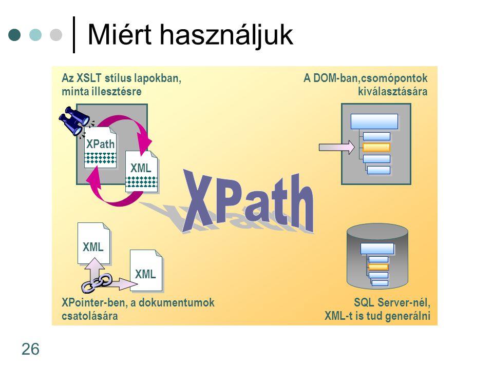 XPath Miért használjuk Az XSLT stílus lapokban, minta illesztésre