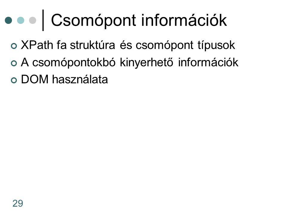 Csomópont információk