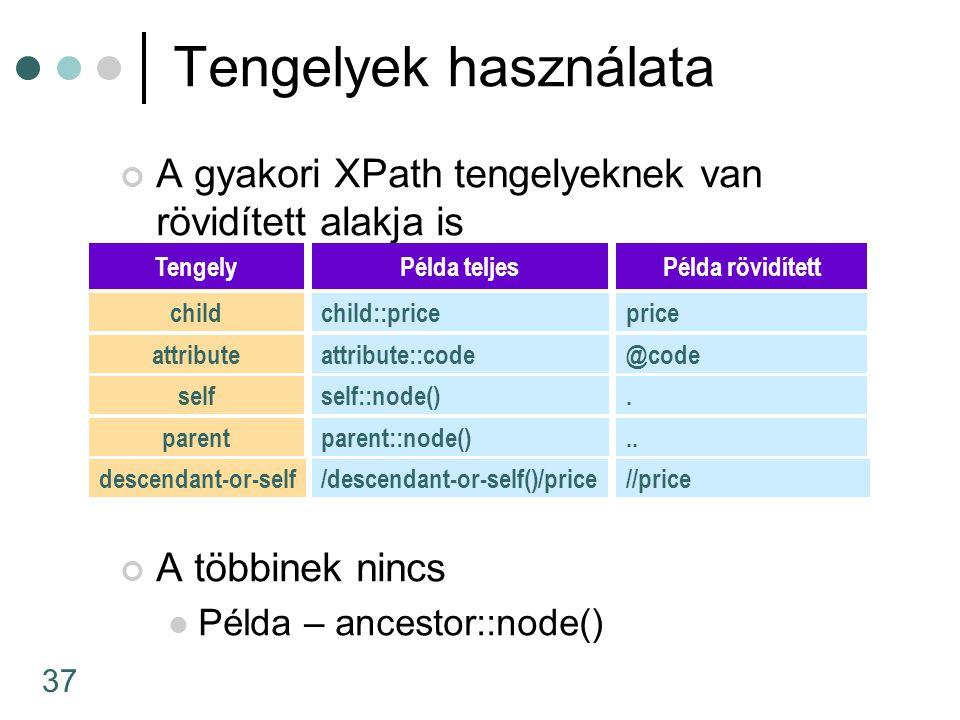 Tengelyek használata A gyakori XPath tengelyeknek van rövidített alakja is. A többinek nincs. Példa – ancestor::node()