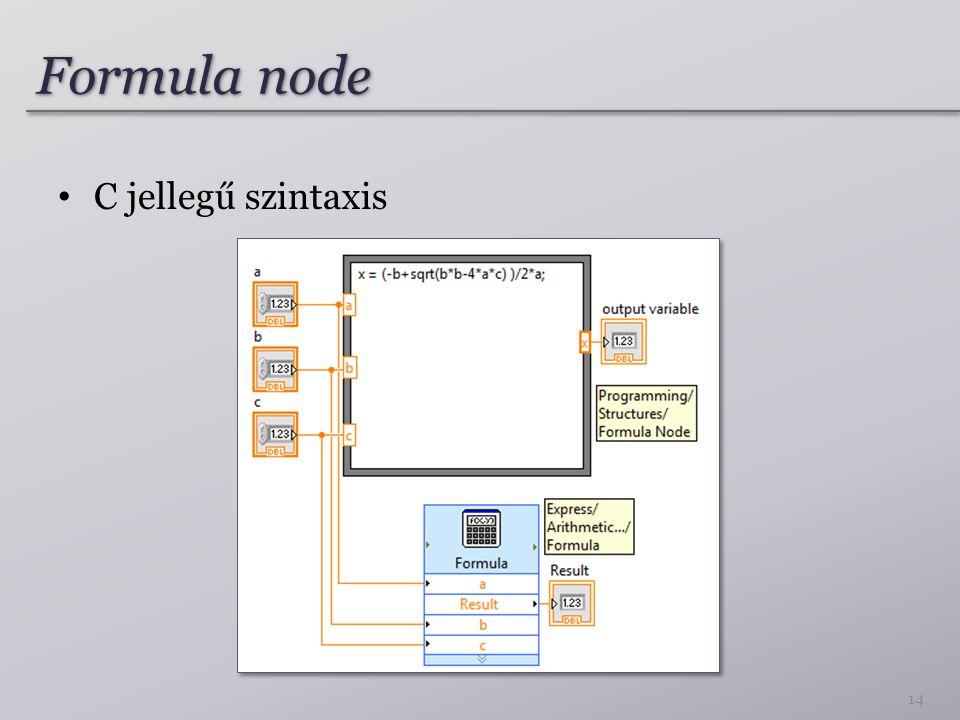 Formula node C jellegű szintaxis