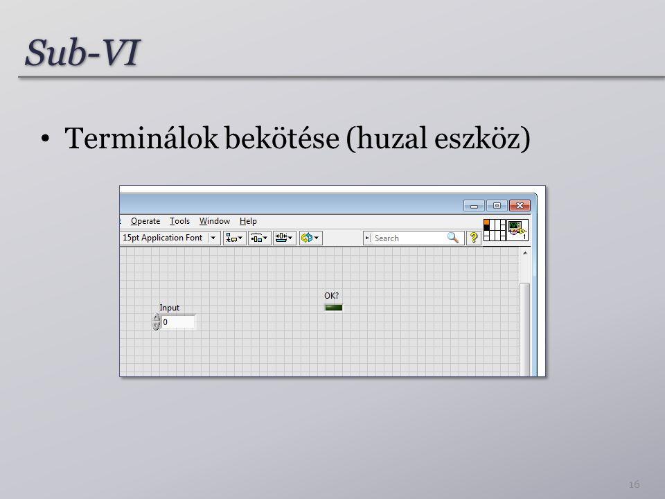 Sub-VI Terminálok bekötése (huzal eszköz)