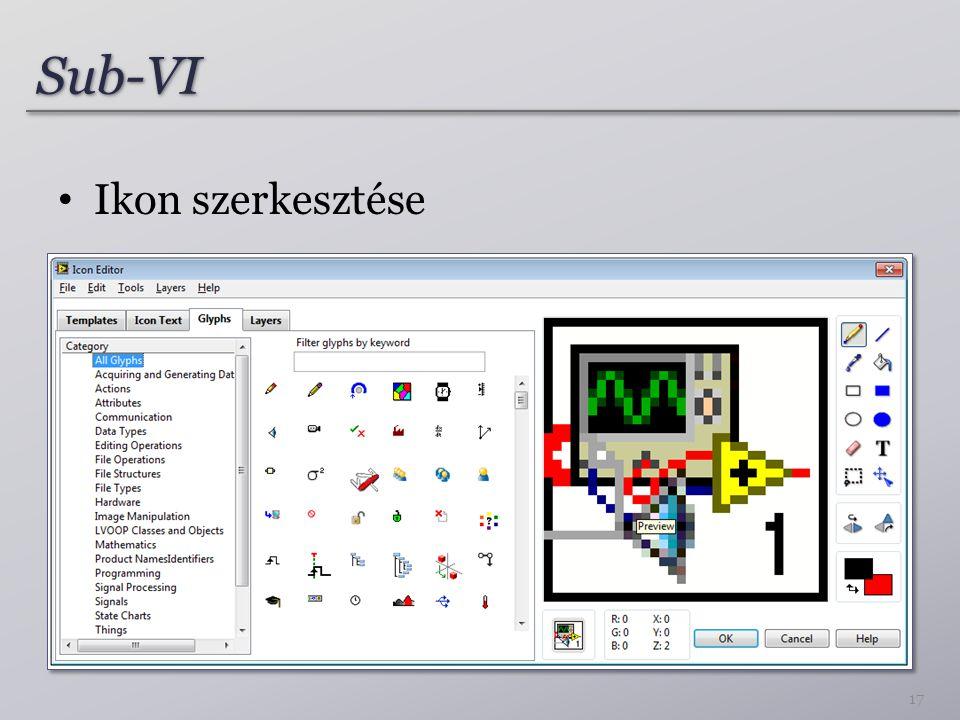 Sub-VI Ikon szerkesztése