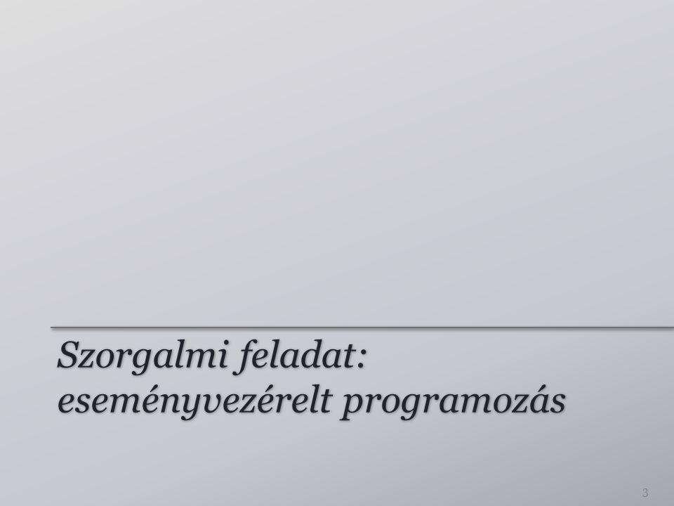 Szorgalmi feladat: eseményvezérelt programozás