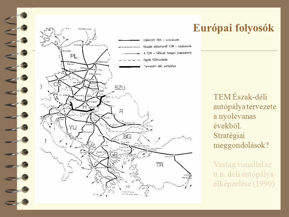 Európai folyosók TEM Észak-déli autópálya tervezete a nyolcvanas évekből. Stratégiai meggondolások