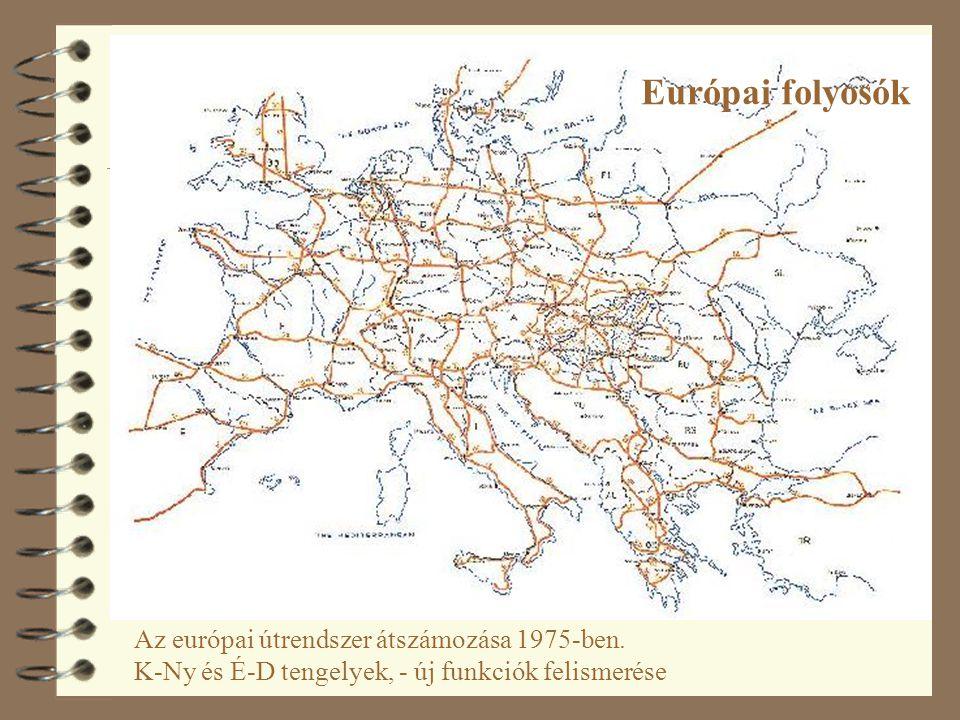 Európai folyosók Az európai útrendszer átszámozása 1975-ben.