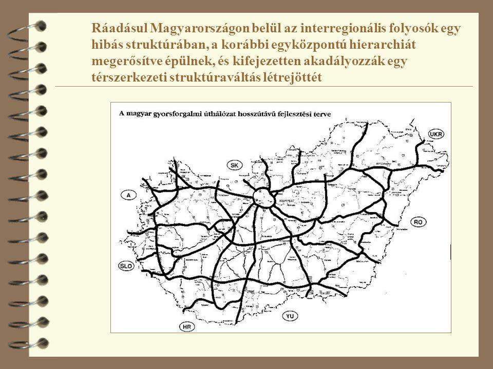 Ráadásul Magyarországon belül az interregionális folyosók egy hibás struktúrában, a korábbi egyközpontú hierarchiát megerősítve épülnek, és kifejezetten akadályozzák egy térszerkezeti struktúraváltás létrejöttét