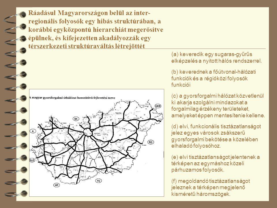 Ráadásul Magyarországon belül az inter-regionális folyosók egy hibás struktúrában, a korábbi egyközpontú hierarchiát megerősítve épülnek, és kifejezetten akadályozzák egy térszerkezeti struktúraváltás létrejöttét