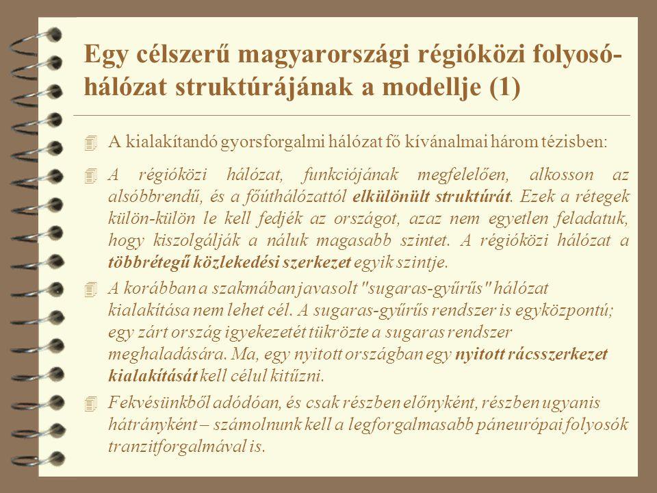 Egy célszerű magyarországi régióközi folyosó-hálózat struktúrájának a modellje (1)