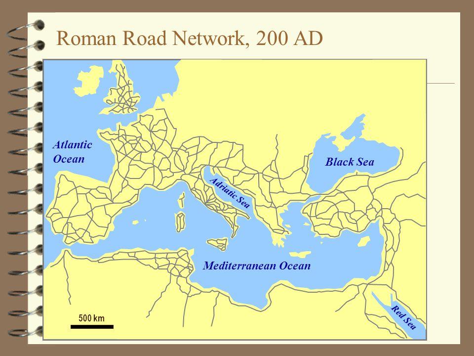 Roman Road Network, 200 AD Atlantic Ocean Black Sea