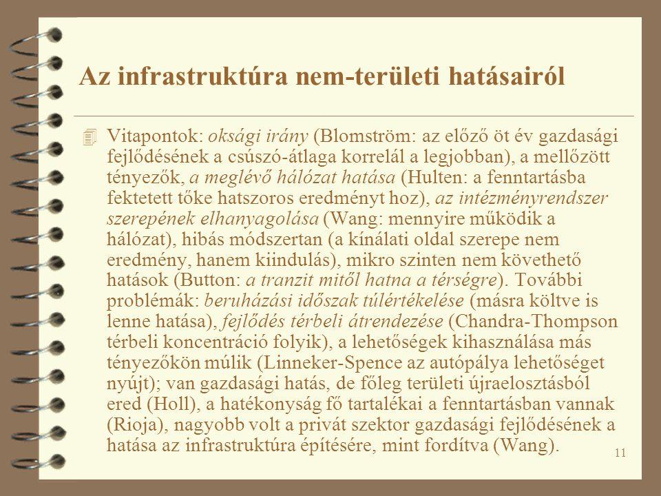 Az infrastruktúra nem-területi hatásairól
