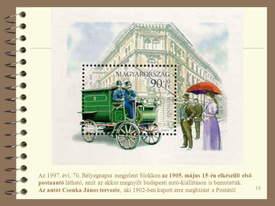 Az 1997. évi, 70. Bélyegnapra megjelent blokkon az 1905
