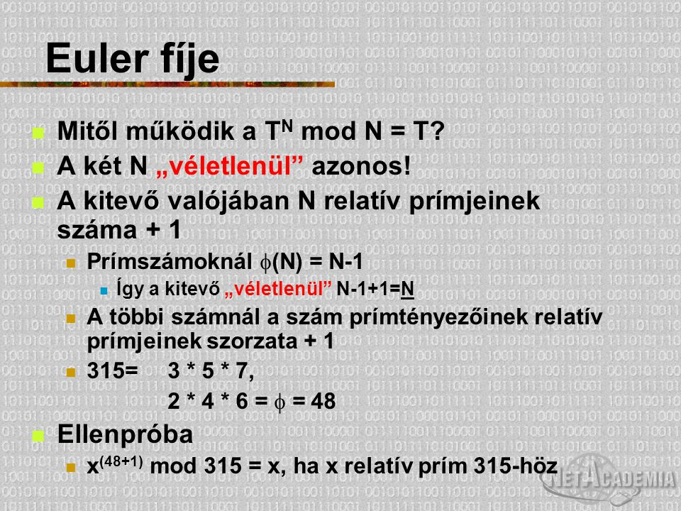 """Euler fíje Mitől működik a TN mod N = T A két N """"véletlenül azonos!"""