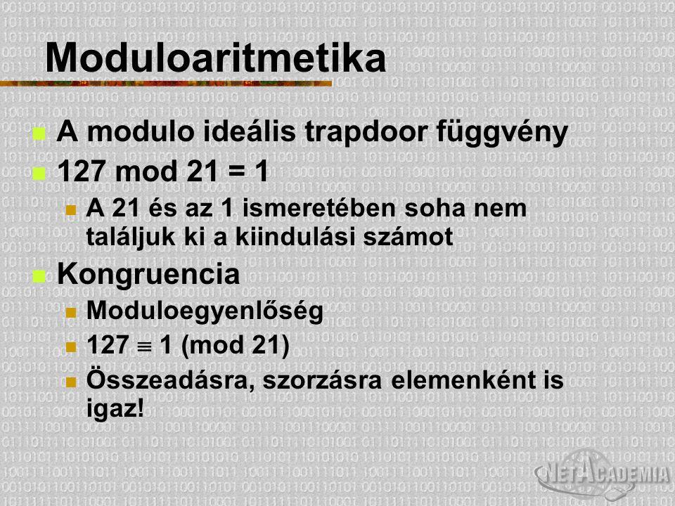 Moduloaritmetika A modulo ideális trapdoor függvény 127 mod 21 = 1