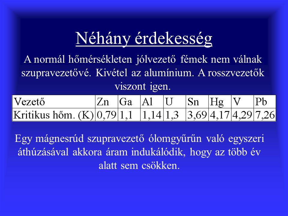 Néhány érdekesség A normál hőmérsékleten jólvezető fémek nem válnak szupravezetővé. Kivétel az alumínium. A rosszvezetők viszont igen.