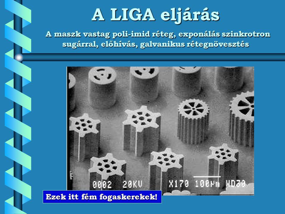 A LIGA eljárás A maszk vastag poli-imid réteg, exponálás szinkrotron sugárral, előhívás, galvanikus rétegnövesztés