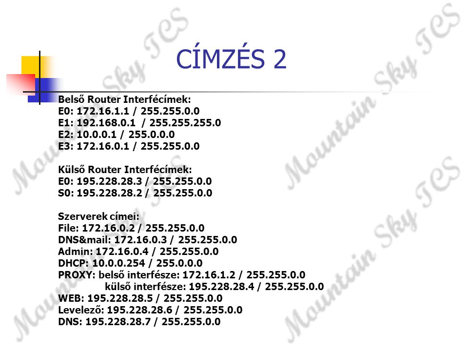 CÍMZÉS 2 Belső Router Interfécímek: E0: 172.16.1.1 / 255.255.0.0