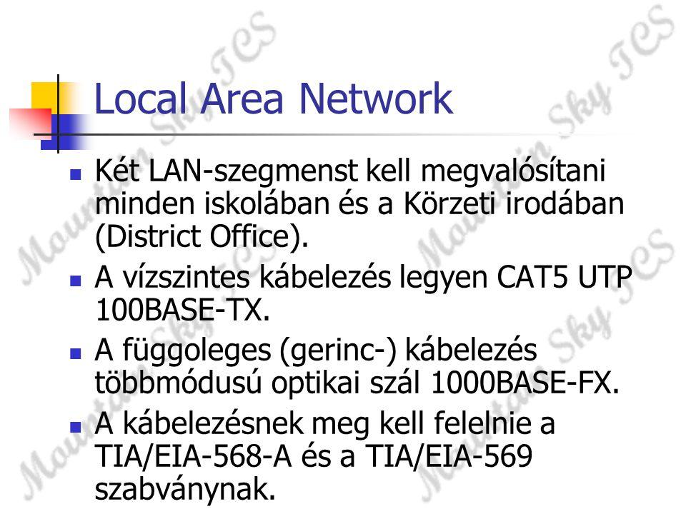 Local Area Network Két LAN-szegmenst kell megvalósítani minden iskolában és a Körzeti irodában (District Office).