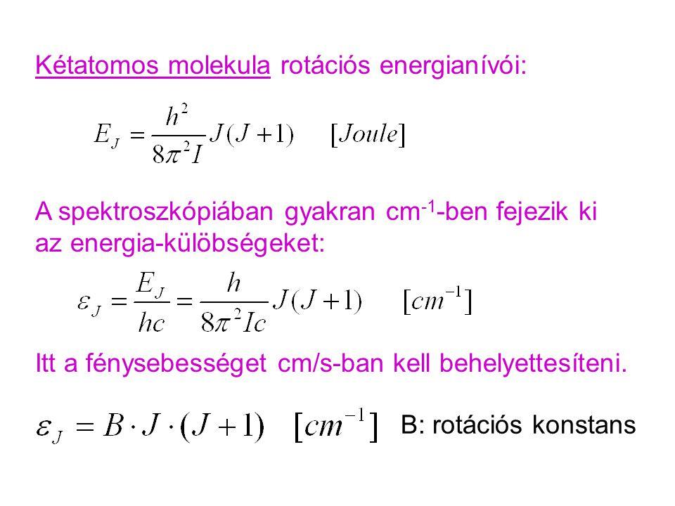 Kétatomos molekula rotációs energianívói: