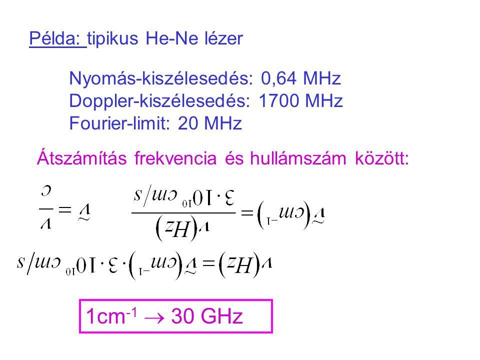 1cm-1  30 GHz Példa: tipikus He-Ne lézer
