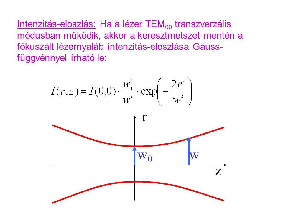 Intenzitás-eloszlás: Ha a lézer TEM00 transzverzális módusban működik, akkor a keresztmetszet mentén a fókuszált lézernyaláb intenzitás-eloszlása Gauss-függvénnyel írható le: