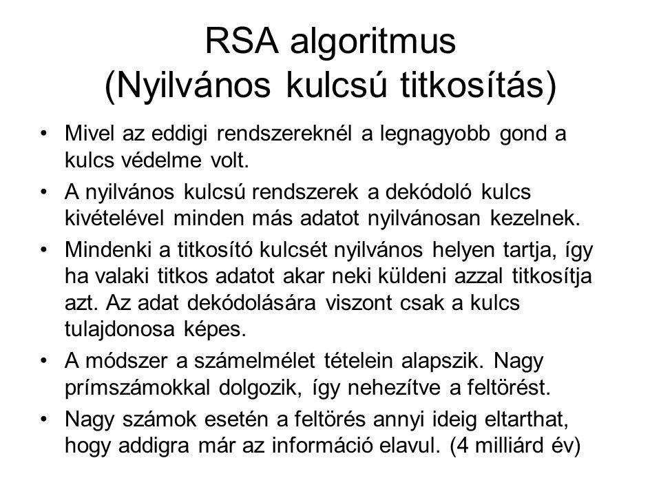 RSA algoritmus (Nyilvános kulcsú titkosítás)