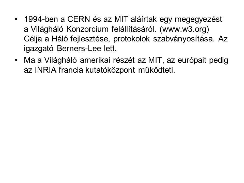1994-ben a CERN és az MIT aláírtak egy megegyezést a Világháló Konzorcium felállításáról. (www.w3.org) Célja a Háló fejlesztése, protokolok szabványosítása. Az igazgató Berners-Lee lett.