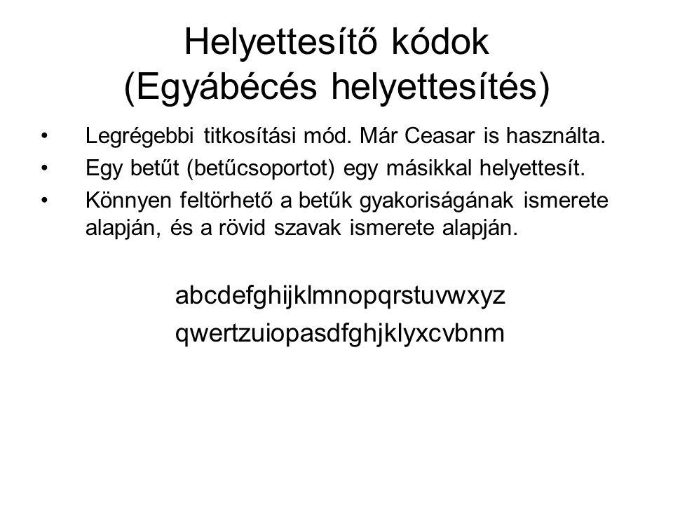 Helyettesítő kódok (Egyábécés helyettesítés)