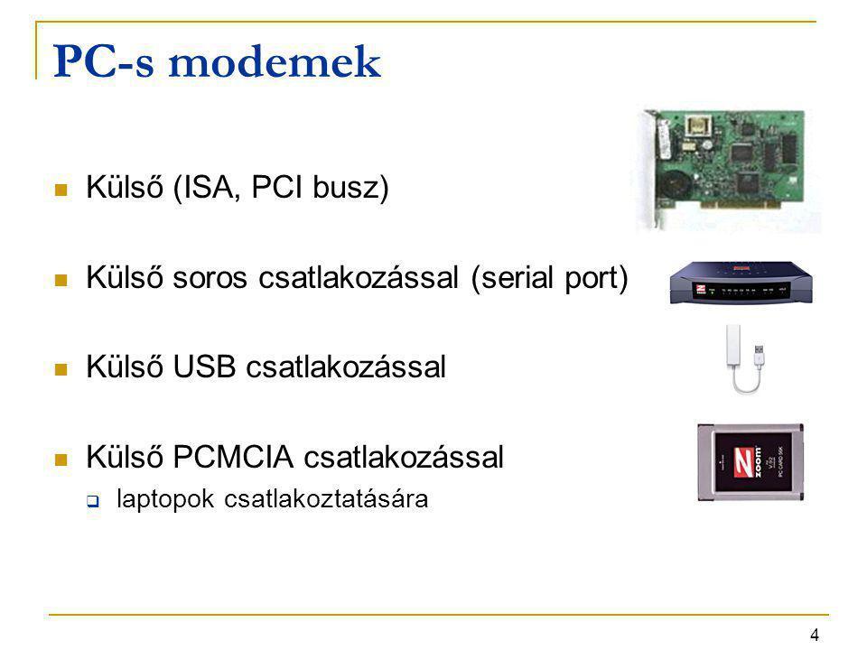 PC-s modemek Külső (ISA, PCI busz)