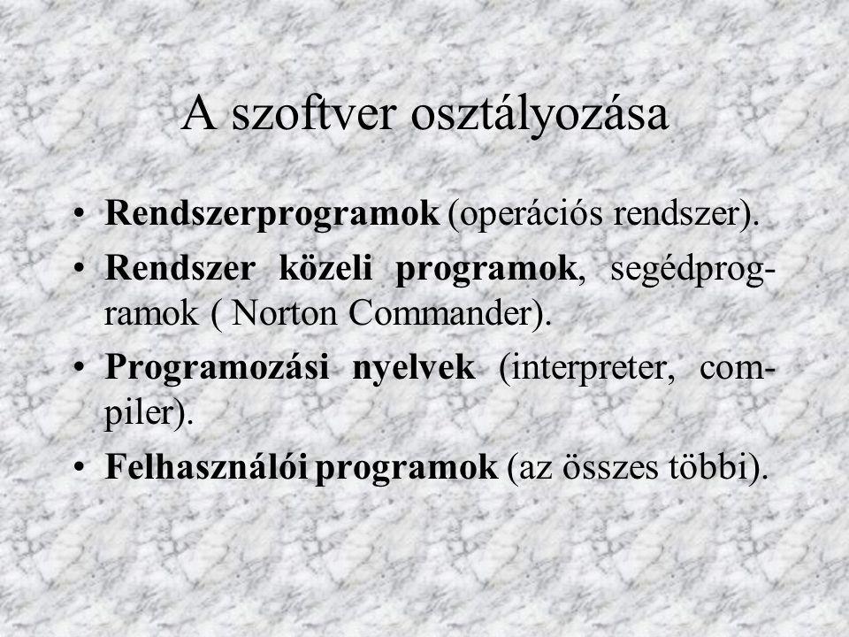 A szoftver osztályozása