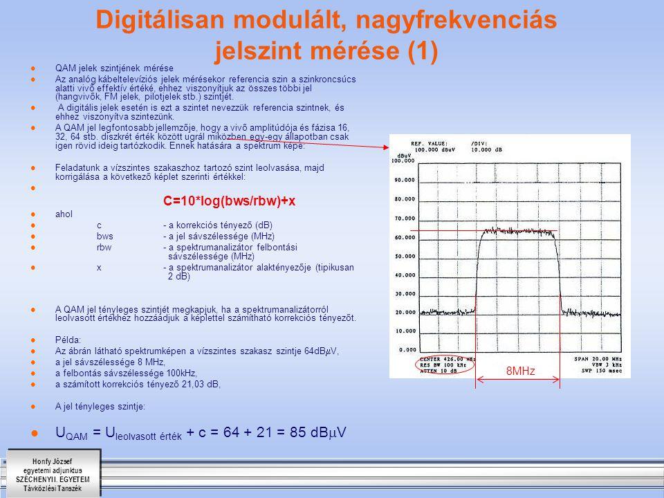 Digitálisan modulált, nagyfrekvenciás jelszint mérése (1)