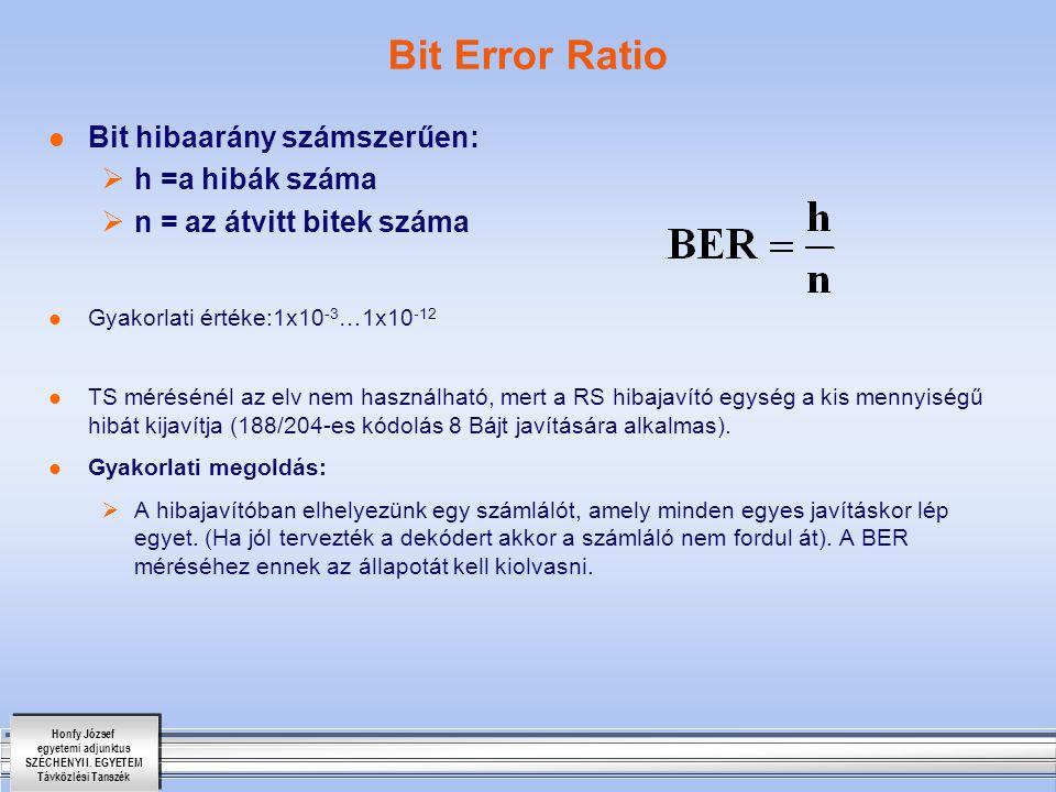 Bit Error Ratio Bit hibaarány számszerűen: h =a hibák száma