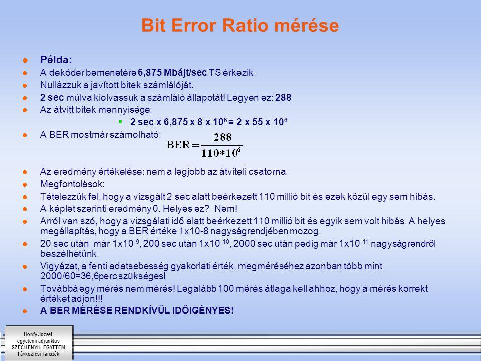 Bit Error Ratio mérése Példa: