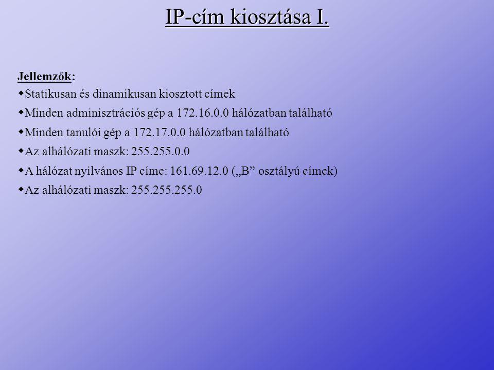 IP-cím kiosztása I. Jellemzők: