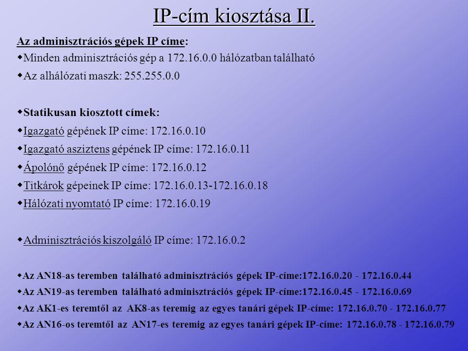IP-cím kiosztása II. Az adminisztrációs gépek IP címe: