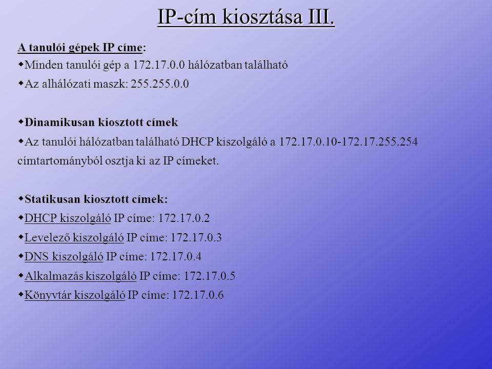 IP-cím kiosztása III. A tanulói gépek IP címe: