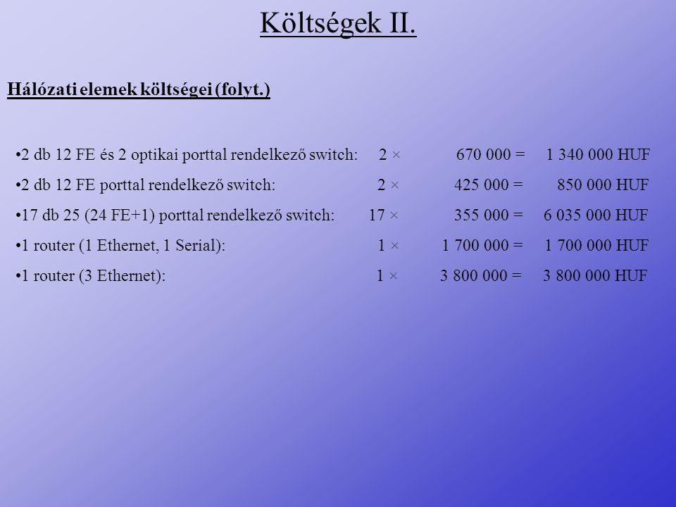 Költségek II. Hálózati elemek költségei (folyt.)