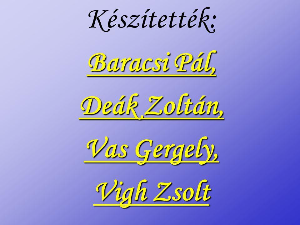 Készítették: Baracsi Pál, Deák Zoltán, Vas Gergely, Vigh Zsolt