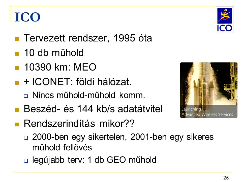 ICO Tervezett rendszer, 1995 óta 10 db műhold 10390 km: MEO